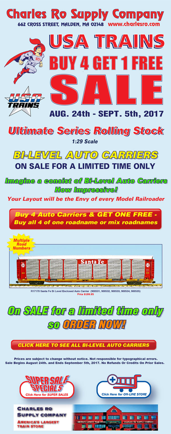 charles ro supply company usa trains bi level auto carrier buy 4 get 1 free sale o gauge. Black Bedroom Furniture Sets. Home Design Ideas
