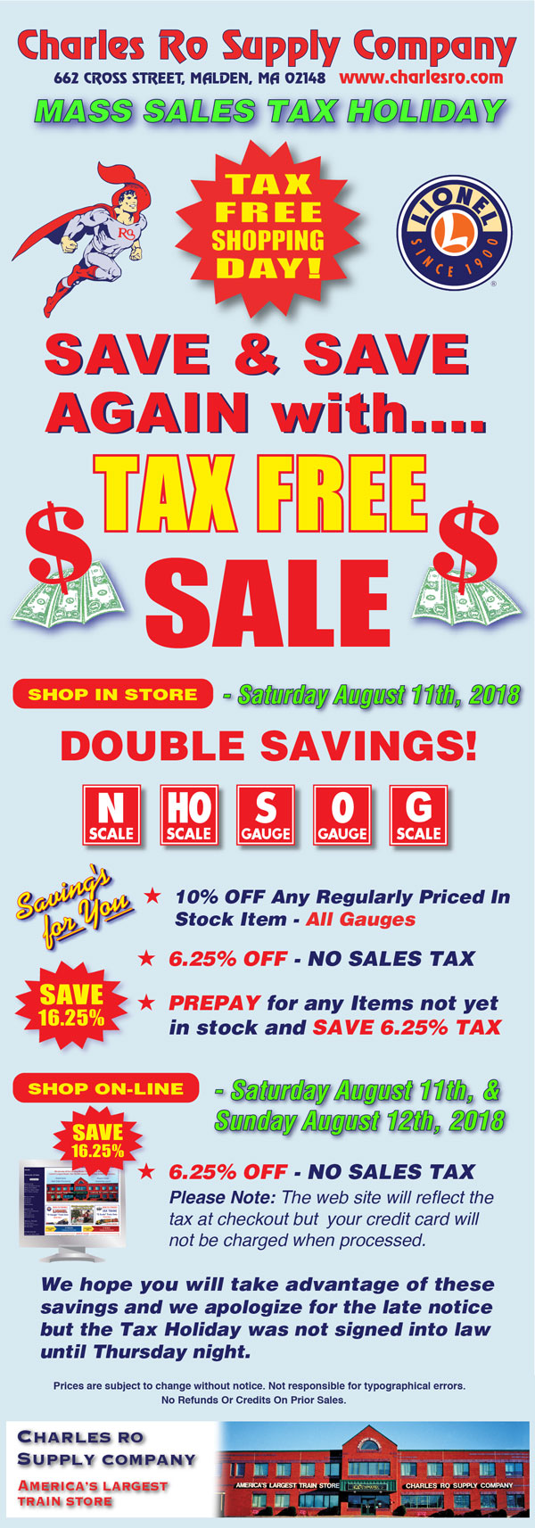 Ma Sales Tax On Cars >> Charles Ro Supply Company Mass Sales Tax Holiday O Gauge