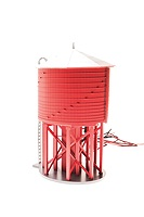 BL6090 - HO OPER WATER TWR W/SND UNLETT BARN RED NON-WEATHERED